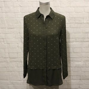 Sung | Forest Green Pattered Button-Down Blouse